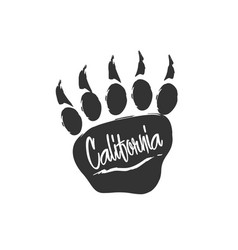 californian bear paw print bear footprint with vector image