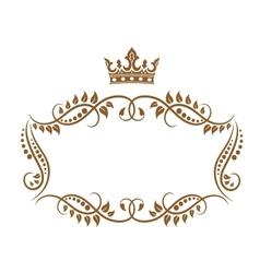 Elegant royal medieval frame with crown vector image