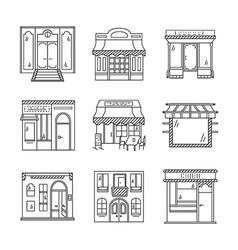 Linear icons for storefronts vector image vector image