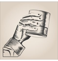Male hand holding glass alcohol drink vector image