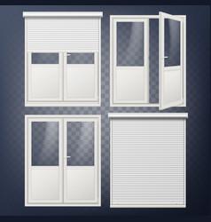 plastic door modern white roller shutter vector image vector image