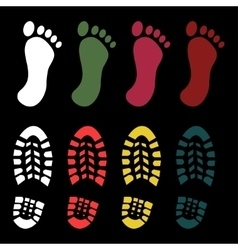 Shoe and bare foot print vector