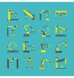Technology factory robot arms equipment vector image