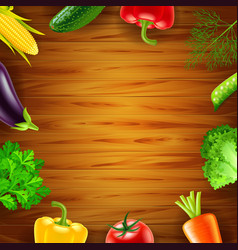 vegetables on wooden background top view vector image vector image