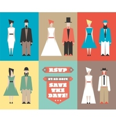 Wedding invitation with figurines vector image vector image