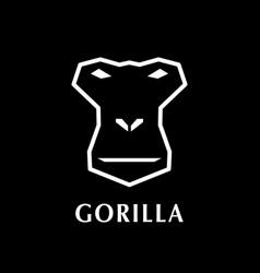 gorilla head logo element on black background vector image
