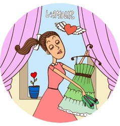 Young woman in love dressing fro a date vector