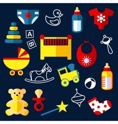 Flat baby toys and objects vector image vector image