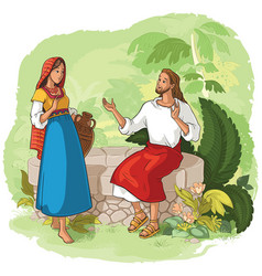 Jesus and the samaritan woman at the well vector