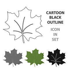 maple leaf icon in cartoon style for web vector image