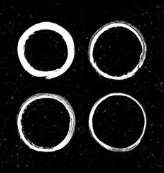 set of grunge white circle brush strokes vector image