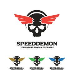 skull wing logo speed demon logo vector image