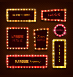 Vintage 3d light marquee vegas frames with vector