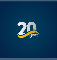 20 years anniversary celebration elegant white vector