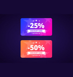 25 and 50 percents discount cards loyal members vector image