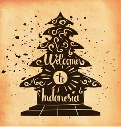 A poster on aged paper Travel to Indonesia An vector