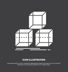Arrange design stack 3d box icon glyph symbol for vector