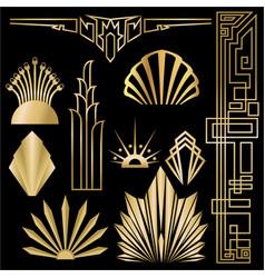 art decoart nuvo diy golden black elegant set of vector image