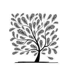 Art tree with peacock feather for your design vector image