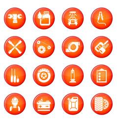 Auto repair icons set red vector
