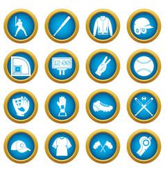 Baseball icons blue circle set vector