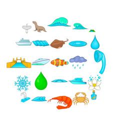 Basin icons set cartoon style vector