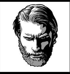 bearded stylish man portrait vector image