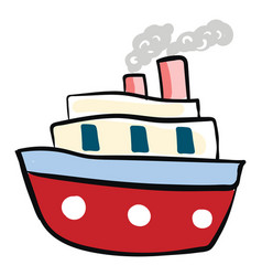 big red boat on white background vector image