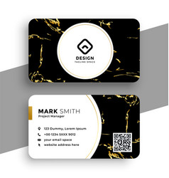black and gold marble texture business card design vector image