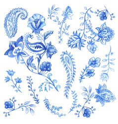 Blue and white floral decorative elements vector