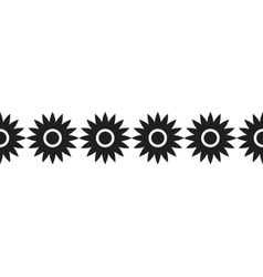 Border of black silhouetted flowers for decoration vector image