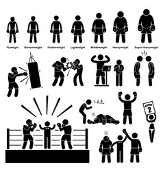 Boxing boxer stick figure pictogram icon a set of vector