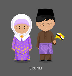 Bruneians in national dress with a flag vector