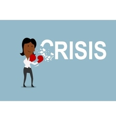 Businesswoman beats and breaks crisis with gloves vector image