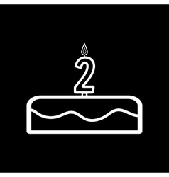 Cake with candles in the form of number 2 icon vector image
