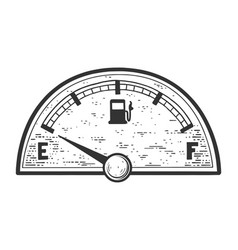 car fuel gauge empty tank indicator sketch vector image