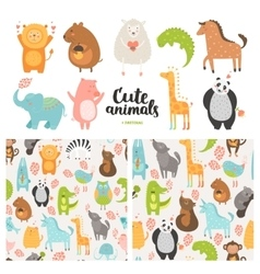 Cartoon animals collection vector