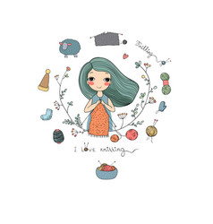 Cartoon knitting girl intresting hobby coloring vector