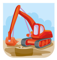 Cartoon red excavator at construction site vector