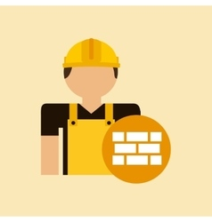 Character construction man with bricks vector
