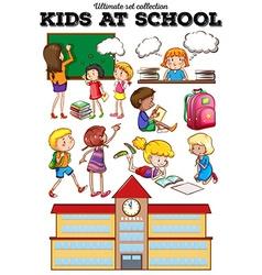 Children learning at school vector