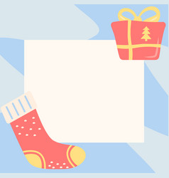 Christmas greeting simple post template vector