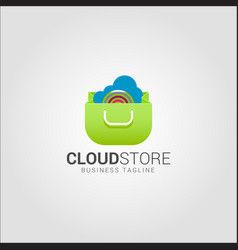 cloud store - online store logo template vector image