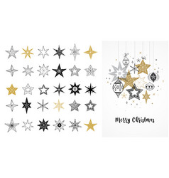 Collection of snowflakes stars christmas vector