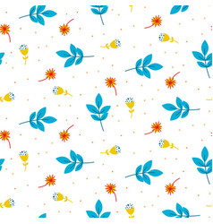 Cute blue twigs and leaves seamless pattern vector