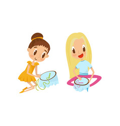 cute little girls sitting on the floor and vector image