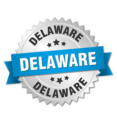 Delaware round silver badge with blue ribbon vector