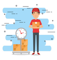 Delivery worker with balance character vector