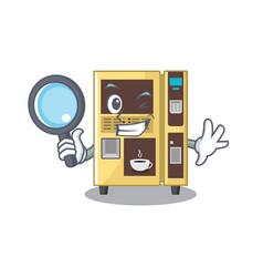 Detective coffee vending machine with cartoon vector