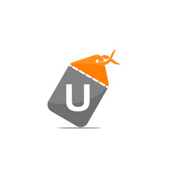 discount shop initial u vector image